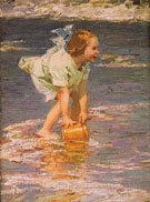 Little Girl in Green - Edward Henry Potthast reproduction oil painting