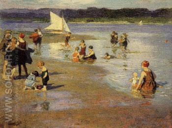 Bathing Beach Low Tide - Edward Henry Potthast reproduction oil painting