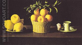 Still Life with Lemons Oranges and a Rose 1633 - Franciso De Zurbaran reproduction oil painting