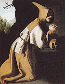 Saint Francis in Prayer c1638 - Franciso De Zurbaran reproduction oil painting