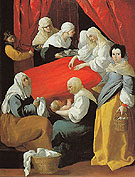 The Birth of the Virgin c1627 - Franciso De Zurbaran reproduction oil painting