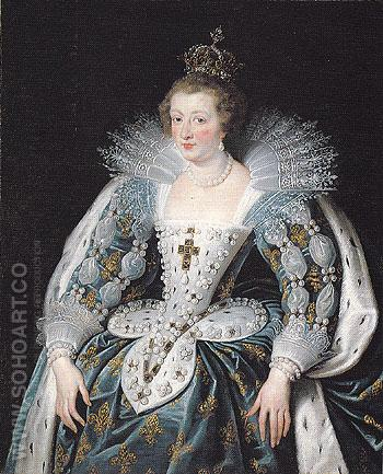 Portrait of Anne of Austria Queen of France c1622 - Peter Paul Rubens reproduction oil painting