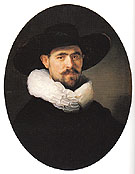 Portrait of a Bearded Man in a Wide Brimmed Hat 1633 - Rembrandt Van Rijn reproduction oil painting