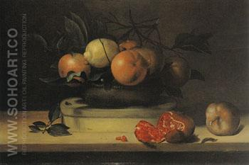 Bowl of Lemons and Oranges on a Box of Wood Shavings and Pomegranates - Louise Moillon reproduction oil painting