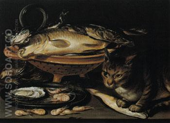 Still Life of Fish and Cat - Clara Peeters reproduction oil painting