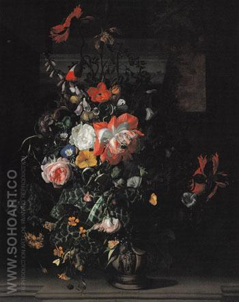 Roses Convolvulus Poppies and other Flowers in an um on a Stone Ledge c1680 - Rachel Ruysch reproduction oil painting