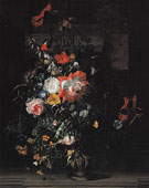 Roses Convolvulus Poppies and other Flowers in an um on a Stone Ledge c1680 - Rachel Ruysch