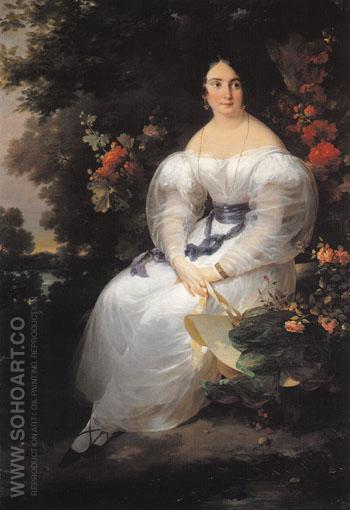 Young Woman Seated in the Shade of a Tree c1830 - Antoinette Cecile Hortense Haudebourt Lescot reproduction oil painting