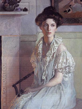 Lady with a Bowl of Violets c1910 - Lilla Cabot Perry reproduction oil painting