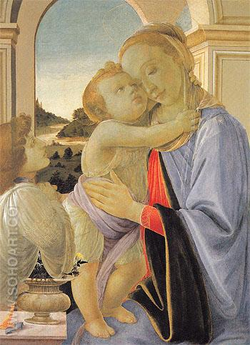 Madonna and Child with Adoring Angel c1468 - Sandro Filipepi reproduction oil painting