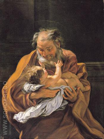 Saint Joseph and the Infant Christ c1670 - Giovanni Battista Gaulli reproduction oil painting