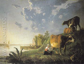 Evening in the Meadows - Aelbert Cuyp reproduction oil painting