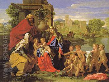 The Holy Family with the Infant Saint John the Baptist and Saint Elizabeth c1650 - Nicolas Poussin reproduction oil painting
