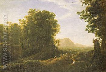 Landscape with a Piping Shepherd c1629 - Claude Gellee reproduction oil painting