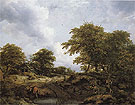 Woody Landscape with a Pool and Figures - Jacob van Ruisdael reproduction oil painting