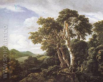 Three Great Trees in a Mountainous Landscape with a River c1665 - Jacob van Ruisdael reproduction oil painting