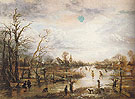 Winter Scene with Figures Playing Golf - Aert va der Neer reproduction oil painting