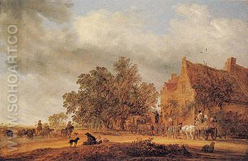 Halt in Front of an Inn 1643 - Salomon van Ruysdael reproduction oil painting