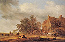Halt in Front of an Inn 1643 - Salomon van Ruysdael