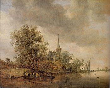 River Landscape with a Village Church 1642 - Jan van Goyen reproduction oil painting