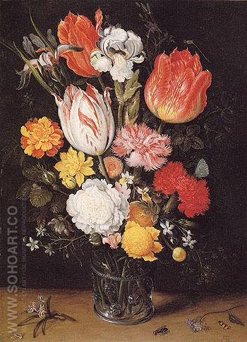 Flowers in a Glass Beaker - Ambrosius Bosschaert reproduction oil painting