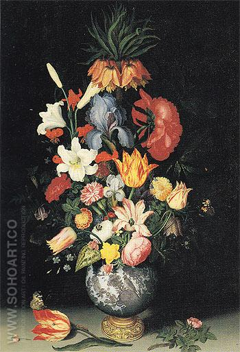 Large Bouquet in Gilt Mounted Wan Li Vase - Ambrosius Bosschaert reproduction oil painting