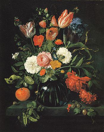 Vase of Flowers 1654 - Jan Davidsz de Heem reproduction oil painting