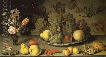 Still Life with Fruits and Flowers - Balthasar van der Ast reproduction oil painting