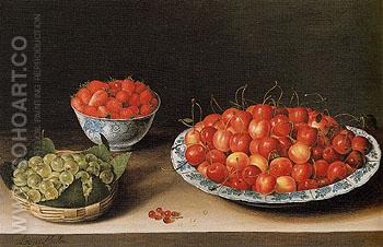 Still Life with Cherries Strawberries and Gooseberries 1630 - Louise Moillon reproduction oil painting