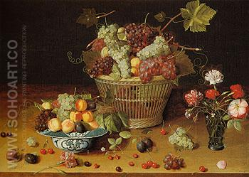 Still Life with Fruits and Flowers c1635 - Isaak Soreau reproduction oil painting