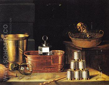 Still Life with Empty Glasses 1644 - Sebastian Stoskopff reproduction oil painting