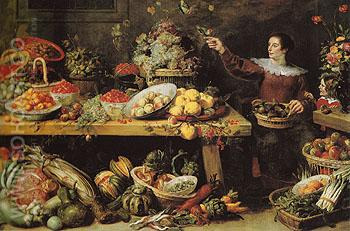 Still Life with Fruit and Vegetables c1585 - Frans Snyders reproduction oil painting