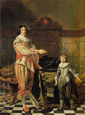 Portrait of a Gentleman and His Son 1631 - Thomas de Keyser reproduction oil painting