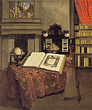 Library Interior with Still Life c1711 - Jan van der Heyden reproduction oil painting