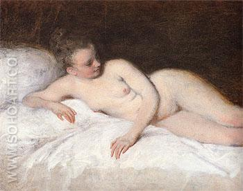 Reclining Nude c1713 - Jean Antoine Watteau reproduction oil painting