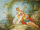 The Happy Lovers c1760 - Jean-Honore Fragonard reproduction oil painting