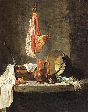 Still Life with Cooking Utensils c1728 - Jean Simeon Chardin reproduction oil painting