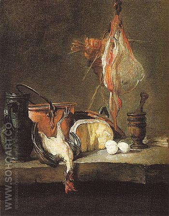 Still Life with a Ray and Chicken - Jean Simeon Chardin reproduction oil painting