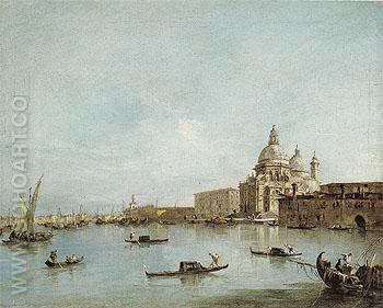 View of the Santa Maria Della Salute with the Dogana di mare - Francesco Guardi reproduction oil painting