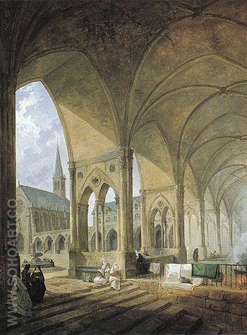The Cloister of the Augustinian Nuns - Hubert Robert reproduction oil painting