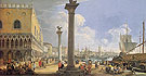 An Extensive View of the Molo Venice Looking Toward the Riva Degli Schiavoni - Luca Carlevarijs reproduction oil painting