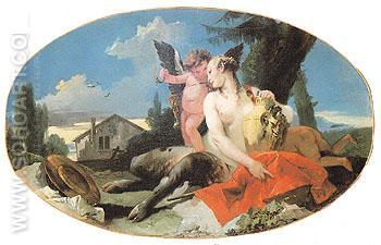 Female Satyr with House Child and a Putto c1740 - Giovanni Barrista Tiepolo reproduction oil painting