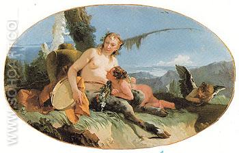 Female Satyr with Tambourine Child and a Putto - Giovanni Barrista Tiepolo reproduction oil painting