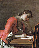 Young Girl Writing A Love Letter c1755 - Pietro Antonio Rotari reproduction oil painting