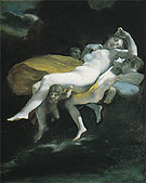The Transportation of Psyche by Zephyrus to the Palace of Eros c1808 - Pierre Paul Prudhon reproduction oil painting