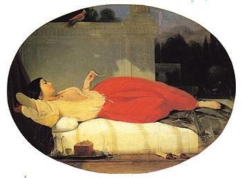 Odalisque 1831 - Achille Deveria reproduction oil painting