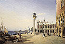 View of Venice The Piazzetta Seen From The Rive Degli Schiavoni 1834 - Jean-baptiste Corot reproduction oil painting