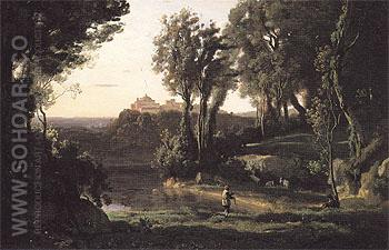 Site in Italy with the Church at Ariccia 1839 - Jean-baptiste Corot reproduction oil painting