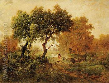The Fisherman Early Morning 1853 - Theodore Rousseau reproduction oil painting