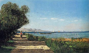 Landscape in Martigues 1869 - Paul Camille Guigou reproduction oil painting
